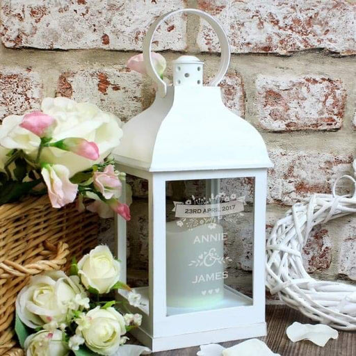 Personalised Couple's Floral White Lantern from Pukkagifts.uk
