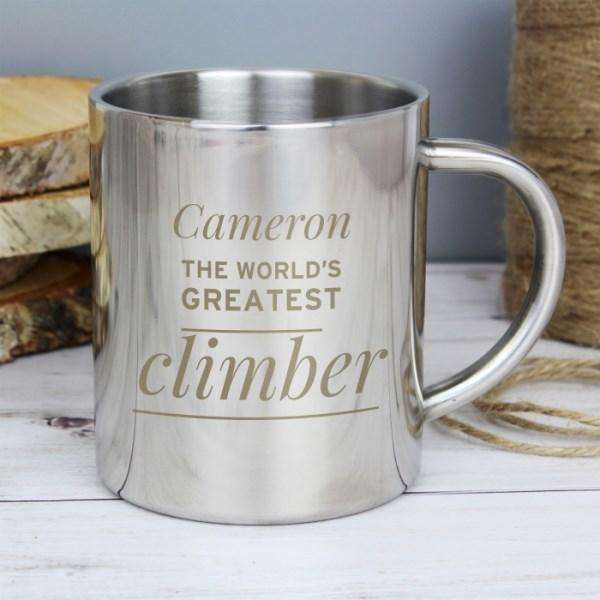 Personalised 'Any Message' Outdoor Camping Metal Mug from Pukkagifts.uk