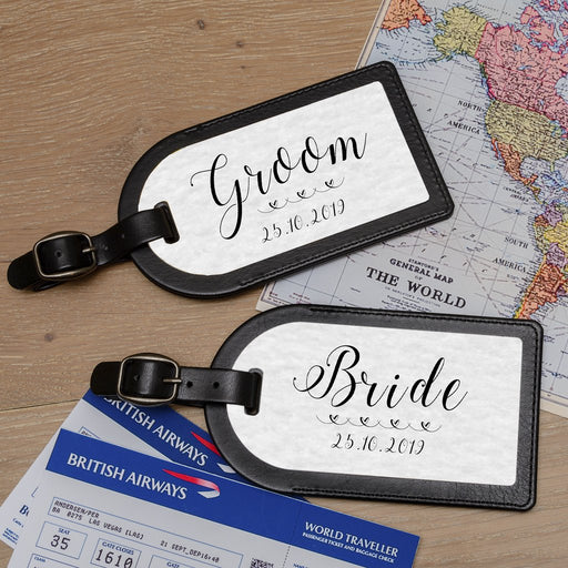 Personalised Bride And Groom Wedding Premium Faux Leather Luggage Tags from Pukkagifts.uk