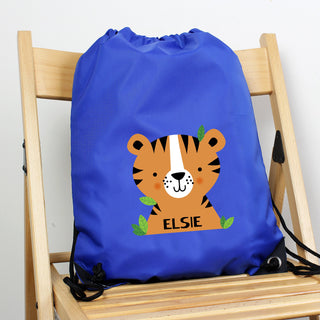 Personalised Tiger Blue Kit Drawstring Bag