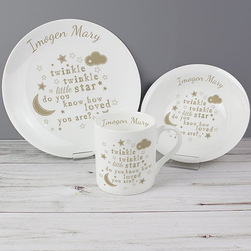 Personalised Ceramic Twinkle Twinkle Little Star Breakfast Set from Pukkagifts.uk