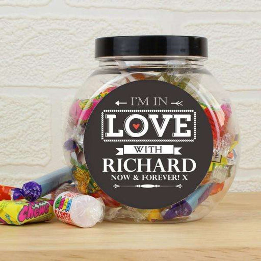 Personalised I'm In Love With Sweet Jar from Pukkagifts.uk