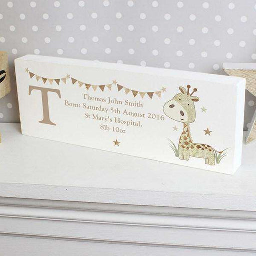 Personalised Hessian Giraffe Wooden Block Sign from Pukkagifts.uk