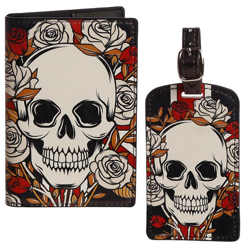 Skulls & Roses Luggage Tag and Passport Cover Set