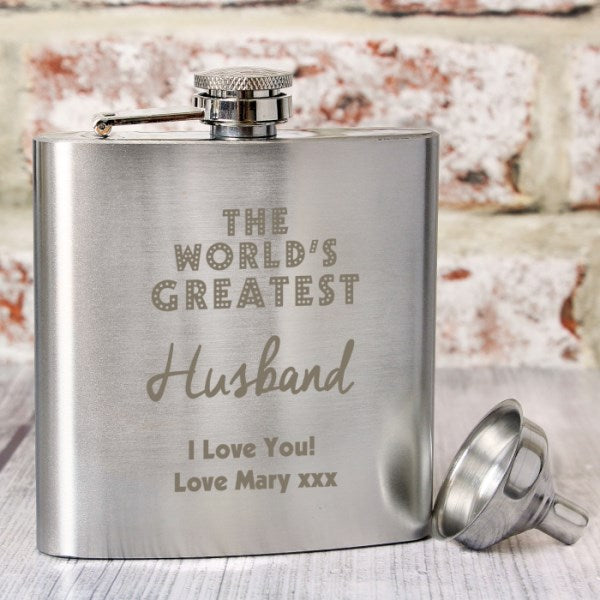 Personalised The World's Greatest Hip Flask from Pukkagifts.uk