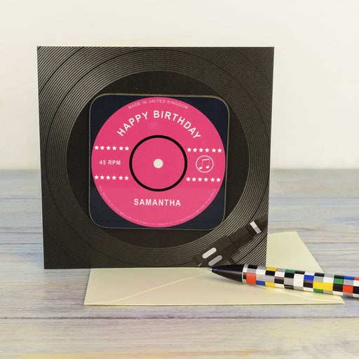 Personalised Vinyl Record Birthday Coaster Card