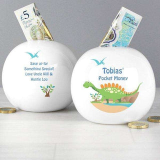 Personalised Dinosaur Money Box from Pukkagifts.uk
