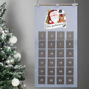 Personalised Pocket Santa Felt Advent Calendar In Silver Grey