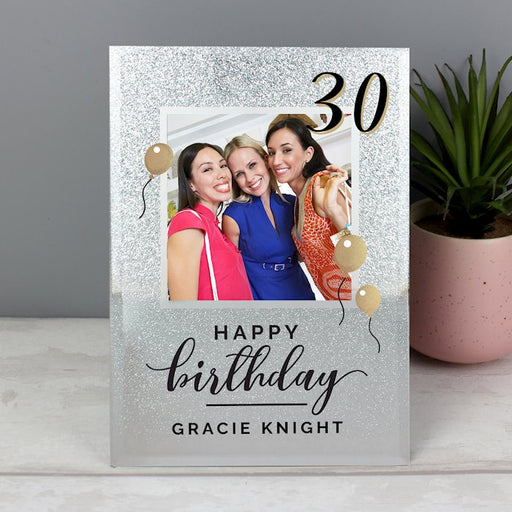 Personalised 30th Birthday Glitter Glass Photo Frame 4x4 from Pukkagifts.uk