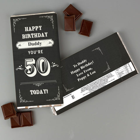 Personalised Birthday Age Vintage Typography Milk Chocolate Bar from Pukkagifts.uk