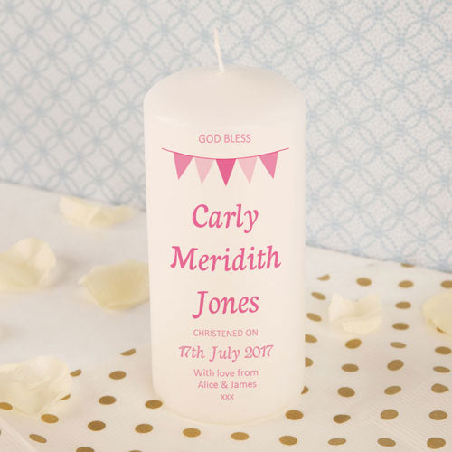 Personalised Girl Bunting Christening Candle