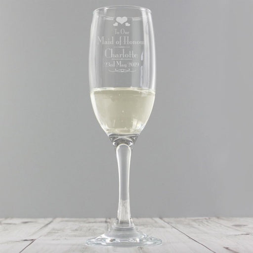 Personalised Decorative Wedding Maid of Honour Glass Flute from Pukkagifts.uk