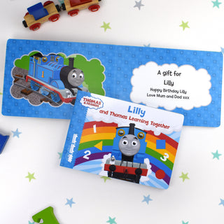 Personalised Me and Thomas Learning Together Board Book from Pukkagifts.uk