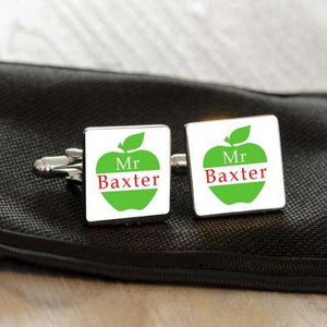 Personalised Apple Teacher Cufflinks from Pukkagifts.uk