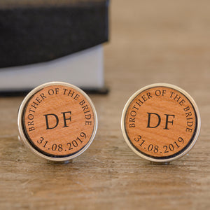 Personalised Brother Of The Bride Wooden Cufflinks from Pukkagifts.uk