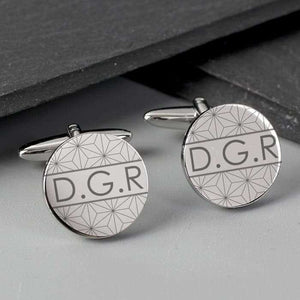 Personalised Geometric Round Cufflinks from Pukkagifts.uk