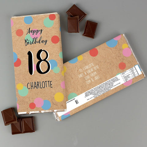 Personalised Birthday Colour Confetti Milk Chocolate Bar from Pukkagifts.uk