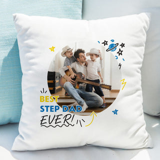Best Step Dad Ever Photo Upload Cushion