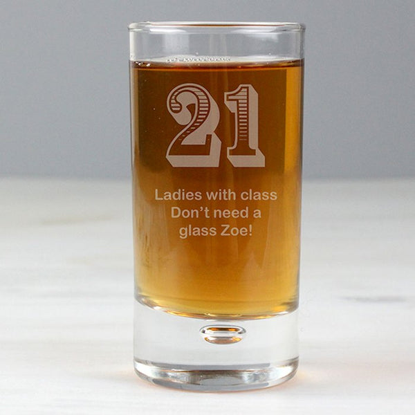 Personalised 21st Birthday Bubble Shot Glass from Pukkagifts.uk