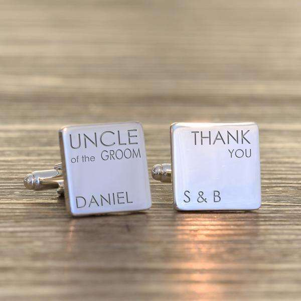 Engraved Wedding Party Role Square Cufflinks from Pukkagifts.uk