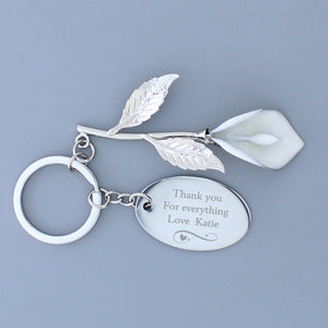 Personalised Swirls & Hearts Silver Plated Calla Lily Keyring