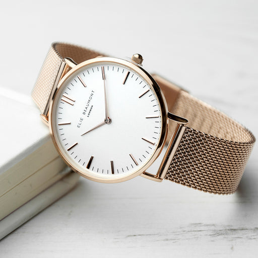 Elie Beaumont Personalised Ladies Rose Gold Mesh Strapped Watch With White Dial