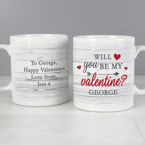 Personalised Will You Be My Valentine Mug from Pukkagifts.uk