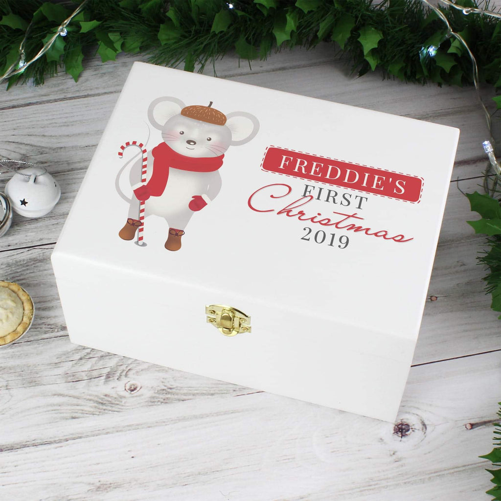Personalised Baby's 1st Christmas Mouse White Wooden Keepsake Box