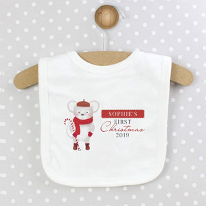 Personalised Baby's 1st Christmas Mouse Bib