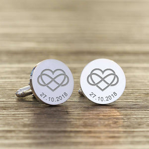 Heart Infinity Love Personalised Engraved Cufflinks,Pukka Gifts
