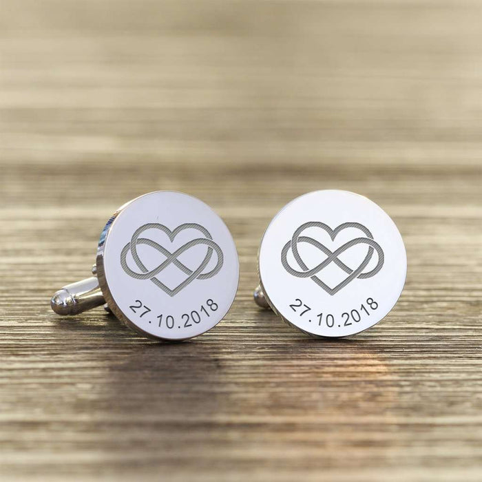 Heart Infinity Love Personalised Engraved Cufflinks from Pukkagifts.uk