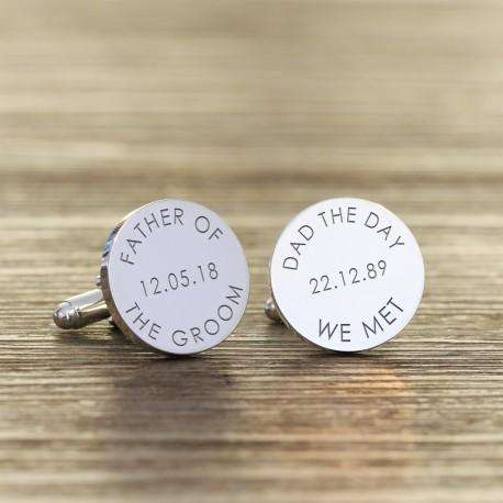Personalised Dad The Day We Met - Father of the Groom Engraved Cufflinks from Pukkagifts.uk
