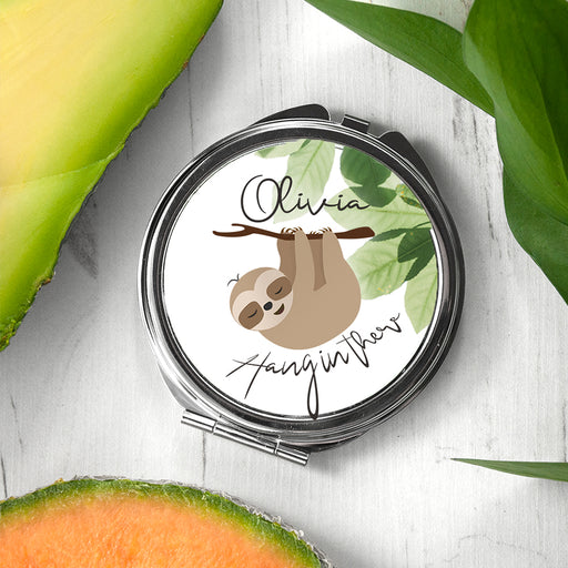 Personalised Sloth Hang In There Round Compact Mirror