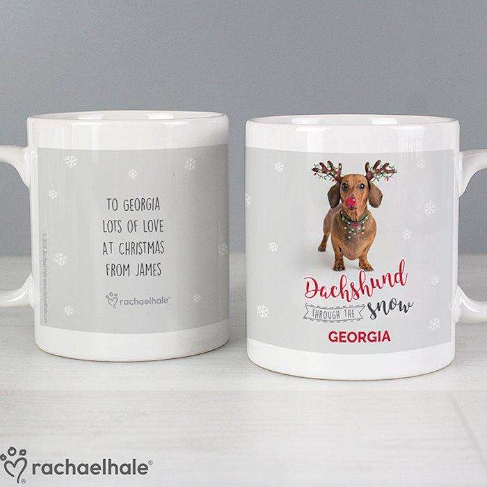 Personalised Rachael Hale Christmas Dachshund Through the Snow Mug from Pukkagifts.uk