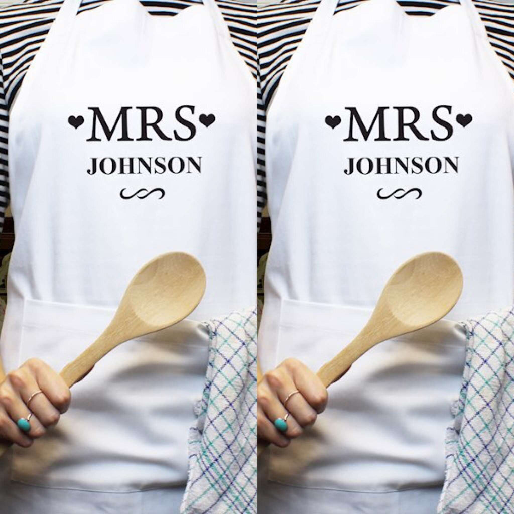 Personalised Mrs & Mrs Aprons from Pukkagifts.uk