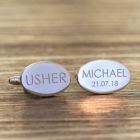 Personalised Usher Oval Cufflinks from Pukkagifts.uk