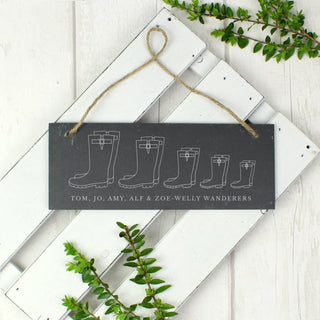 Personalised Welly Boot Family of Five Hanging Slate Sign