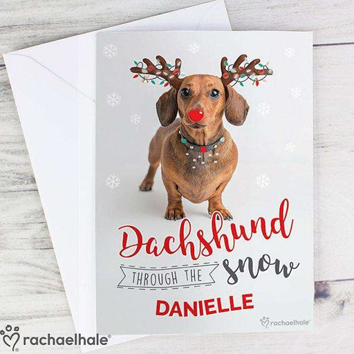 Personalised Rachael Hale Christmas Dachshund Through the Snow Card from Pukkagifts.uk