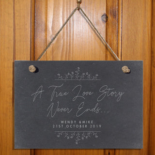 Personalised True Love Story Hanging Slate Sign