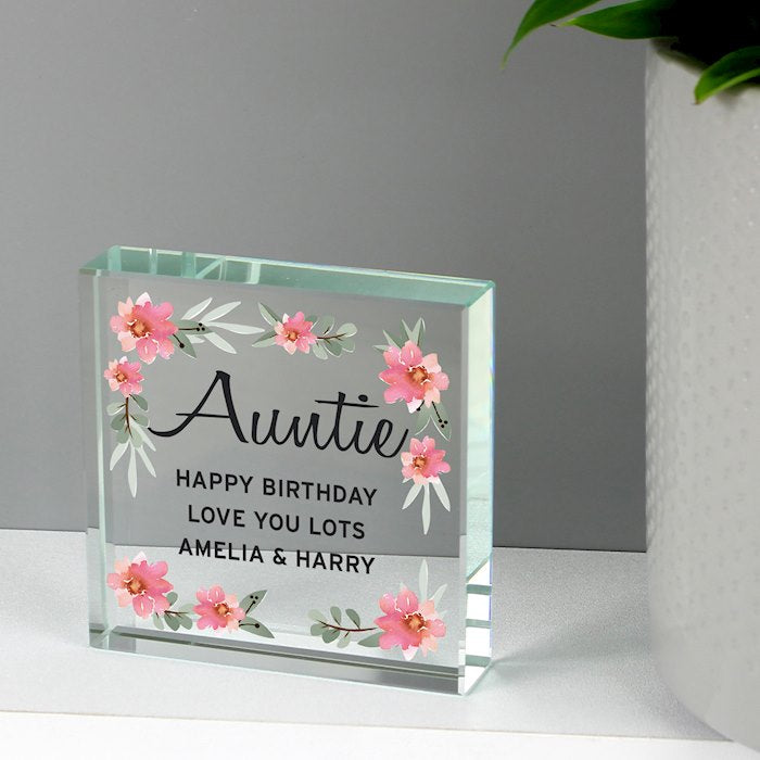 Personalised Floral Sentimental Large Crystal Token
