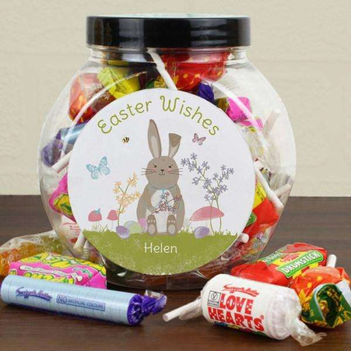 Personalised Easter Meadow Bunny Sweets Jar from Pukkagifts.uk