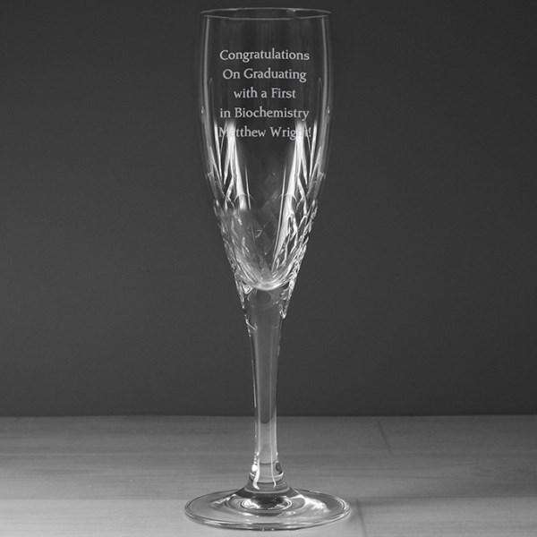 Personalised Cut Crystal Champagne Flute Glass from Pukkagifts.uk