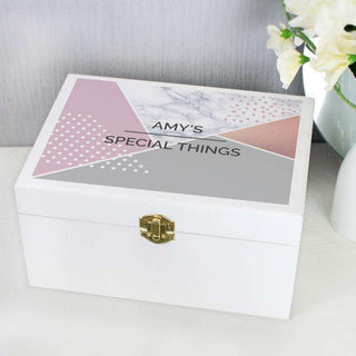 Personalised Geometric Wooden Keepsake Box from Pukkagifts.uk