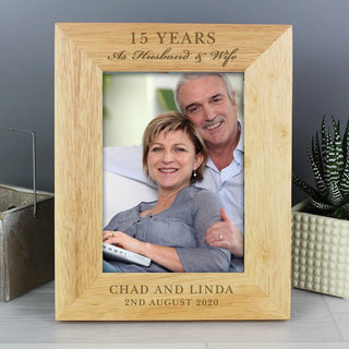 Personalised Anniversary Wooden Photo Frame 7x5 From Pukkagifts.uk