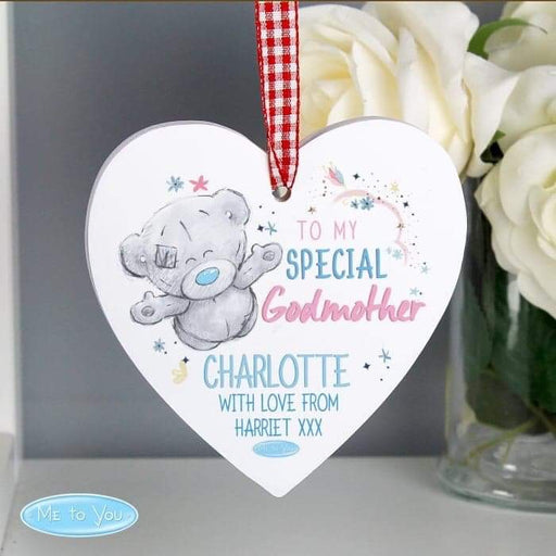 Personalised Me to You Godmother Wooden Heart Decoration from Pukkagifts.uk