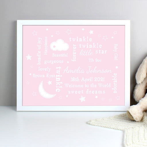 Personalised Pink Twinkle Twinkle Little Star White Framed Poster Print