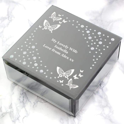 Personalised White Butterfly Diamante Glass Trinket Box from Pukkagifts.uk