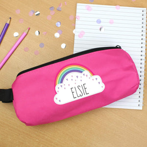Personalised Rainbow Cloud Pink Pencil Case