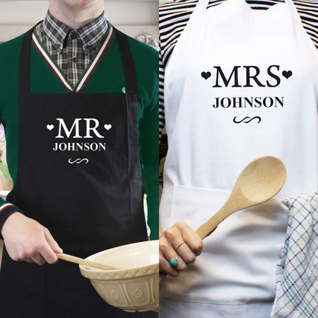 Personalised Mr & Mrs Aprons from Pukkagifts.uk