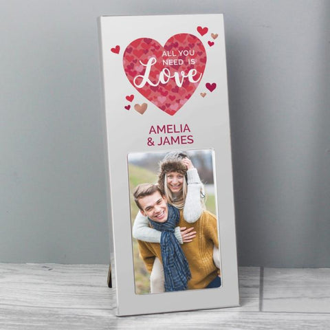 Personalised All You Need is Love Confetti Hearts Photo Frame 2x3